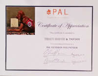 "In March 2013, People.Animals.Love. (PAL) awarded Tavish with this certificate of appreciation for ""outstanding performance as a PAL Veteran Volunteer."""