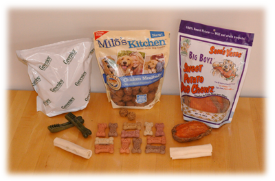 Greenies, Milo's Kitchen, Sam's Yams, Milk-Bones, Dentley's Rawhide Curls